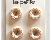4 Vintage Buttons, La Petite Buttons, Tan Ecru Buttons, Flower Butons, Unique Buttons, New on Cards 1960s
