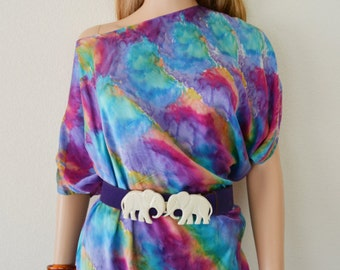 Asymmetrical Tunic Top Watercolor Print Multicolored Off the Shoulder Tunic Blouse 1980's Vintage Epsteam