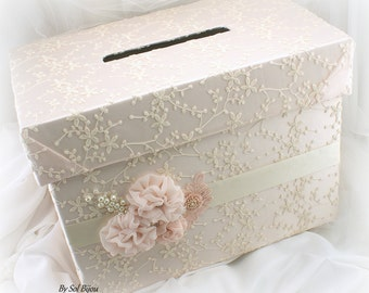 Wedding Money Box, Card Holder Box, Ivory, Blush, Pink, Keepsake Box, Vintage Wedding,Invitation Box,Card Box,Lace Money Box,Pearls,Crystals