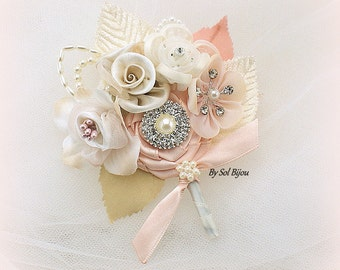 Blush Boutonniere, Corsage, Blush, Champagne, Tan, Gold, Ivory, Groom Boutonniere, Button Hole, Pearls, Crystals, Vintage Style, Elegant
