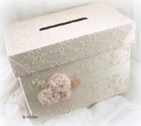 Wedding Money Box: Wedding Money Box Card Holder Box Ivory Blush Pink