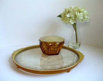Vintage celluloid dresser tray and dresser jar Ivory celluloid boudoir tray
