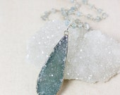 50 OFF SALE Blue Druzy Necklace – Choose Your Druzy – Blue Aquamarine Chain