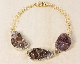 50% OFF Natural Agate Druzy Bracelet - Free Form Druzy - Gold or Silver