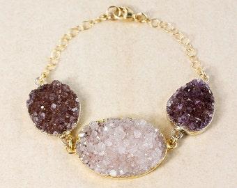 50% OFF Lilac Purple Druzy & Violet Druzy Bracelet - Gold or Silver - Oval Druzy