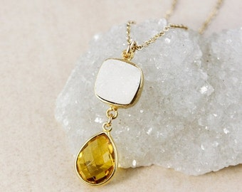 50% OFF White Druzy and Citrine Quartz Necklace – 14K Gold Filled