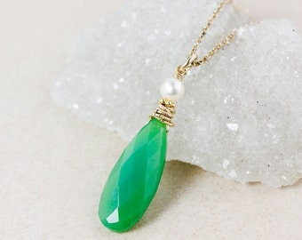 XMAS SALE Green Chrysoprase Teardrop Necklace – Freshwater Pearl
