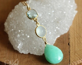 40 OFF SALE Teal Quartz, Aqua Chalcedony, and Mint Green Chrysoprase Gemstone Necklace - 14K Gold Fill