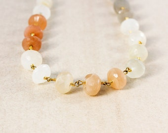Peach Moonstones Beaded Necklace