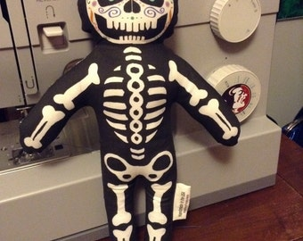 Sugar Skull Plush Skeleton Doll