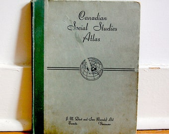 Vintage Canadian 1953 Atlas Hardcover School Book Color with Weather Maps and More.