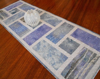 Quilted Christmas Table Runner with Trees and Snowflakes in Blue and Lavender, Winter Table Runner, Blue Purple and Gray, Quiltsy Handmade