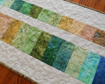 Modern Table Runner in Stonehenge Prints, Quilted Table Runner or Wall Hanging, Colors of Nature, Blue Green Brown