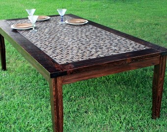 """Large Dining Table. Tile Dining Table. Dining Table. Rustic Dining Table.  Reclaimed Wood Farm Table. 84"""" long x 46"""" wide x 30"""" tall"""