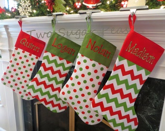 Personalized Christmas Stocking Red Stocking Personalized Christmas Stockings Personalized Chevron Stocking Custom stocking