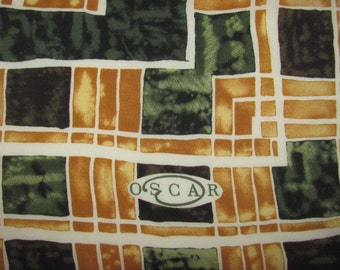 Vintage Oscar de la Renta Square Silk Scarf - Gold, Brown and Dark Green Square Pattern - Marbled/Mottle Look