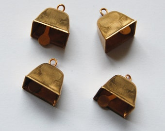 Vintage Solid Brass Bells 4 Small Square Bells 1/2 inch