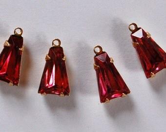 Vintage Glass Keystone Bead Pendants Brass Settings • 12x8mm • Rose Pink, Aqua