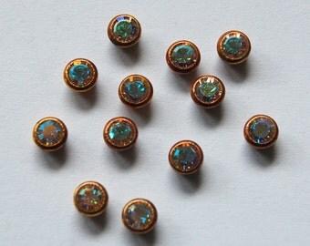Swarovski Crystal Ab 12 Bezel Set Rhinestones 16ss 3.5mm Brass