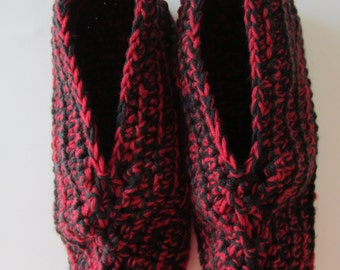 Size 9-10 Crocheted Women's Slippers, Red and Black