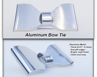 Metal Neck Bow Tie, Aluminum, Solid thick metal
