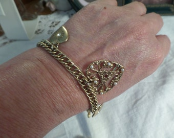 Vintage Gold Tone Charm Bracelet Love Hearts and Angels Free Shipping