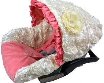 Ritzy Baby Coral with Ivory Roses Infant Car Seat Cover, Includes Matching Strap Set
