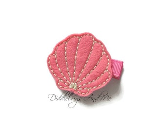 Coral Scallop Seashell Hair Clip, Scallop Shell Hair Clip, Girls Seashell Hair Clip, Beach Hair Clip, Toddlers Beach Hair Clip