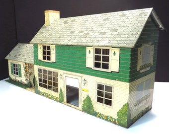 Marx Tin Litho Doll House with Add On Rumpus Room Vintage 1950s Five Room Home with Add On