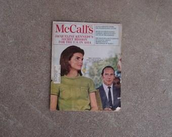 Vintage McCalls Magazine Jacqueline Kennedy Secret Mission Cambodia Lord Harlech Mexico June 1968 Fashion Coco Chanel Sunburn