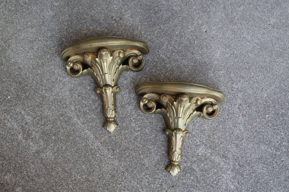 Vintage Wall Sconce Shelf Set Pair Two Gold Ornate Home Decor