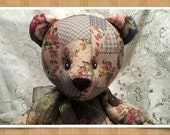 Jointed Patchwork Teddy Bear - Country Blue & Tan, Gold and Rose Floral Print