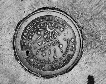New Orleans Water Meter Photograph Fine Art Print. Black and White Photography.