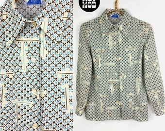 Cool Vintage 70s Blue, Brown, Cream Op Art Floral Pattern Shirt Blouse Top with Pointy Collar!