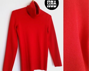 Cool Red Orange Vintage 70s Turtleneck Shirt Top! A Great Basic Addition to your Wardrobe!