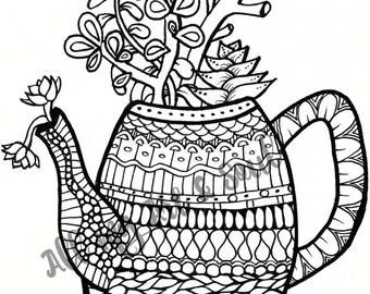 Adult Coloring Page - Teapot Planter - Instant Download - Zentangle - Doodle Illustration - DailyDoodler - Unique Succulent Illustration