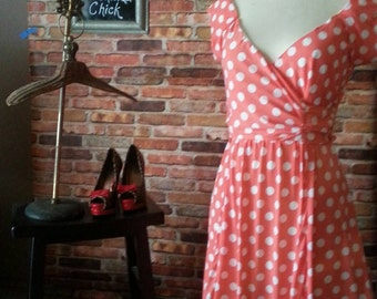 Rockabilly clothing/ 1940's Swing Dress/Pin Up clothing/ Peach Polka Dot/woman's size