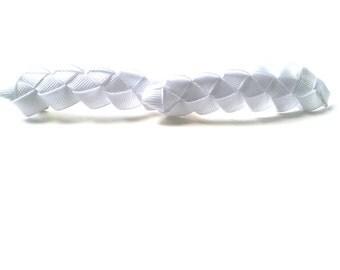 White Braided  Ribbon  Barrette