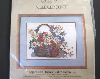Something Special Needlepoint Kit No. 30461 - Poppies and Daisies Basket Picture