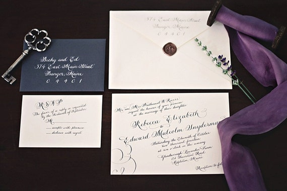 Calligraphy Wedding Invitation Suite By Calligraphywithstyle