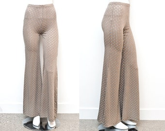 SALE Geometric Wide Leg Taupe High Waist Pants Small & Large