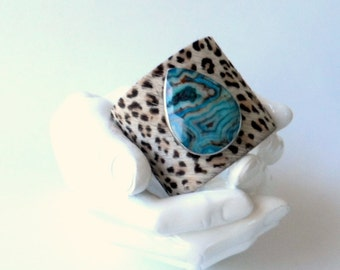 "leather cuff bracelet  -cheetah hair on hide with blue agate- 2"" wide"