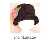 la-tee-da chapeau /cloche hat / vintage chenille with hand made roses