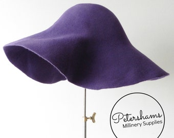 100% Wool Felt Capeline Hat Body for Millinery & Hat Making - Purple Capeline