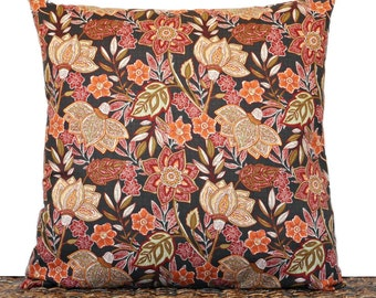 Brown Floral Pillow Cover Cushion Fall Autumn Green Red Mustard Orange Decorative 18x18