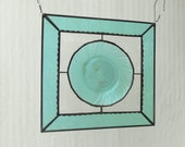 Antique Stained Glass Window Panel, Recycled Jeannette Ultramarine Swirl Depression Glass Plate Panel, Stained Glass Transom Window, Valance