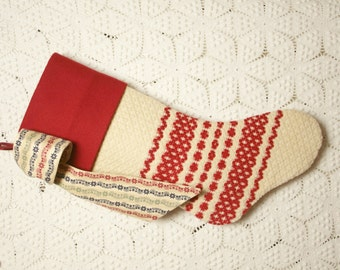 Garnet Red and Ivory Antique 1800s Handwoven Coverlet Heirloom Christmas Stocking with Merino Wool Cuff