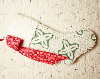 Green and White Hofmann Vintage Chenille Heirloom Christmas Stocking with Red Snowflake Bow