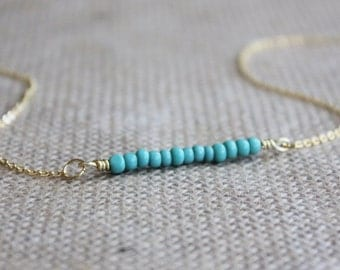 Turquoise Seed Bead Bar Necklace | Minimalist Gold Layering Necklace | Delicate Glass Bead Jewelry