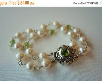 20% off, Multi strand pearl bracelet, peridot gemstone, sterling silver, womens gift, artisan quality, statement, fine jewelry